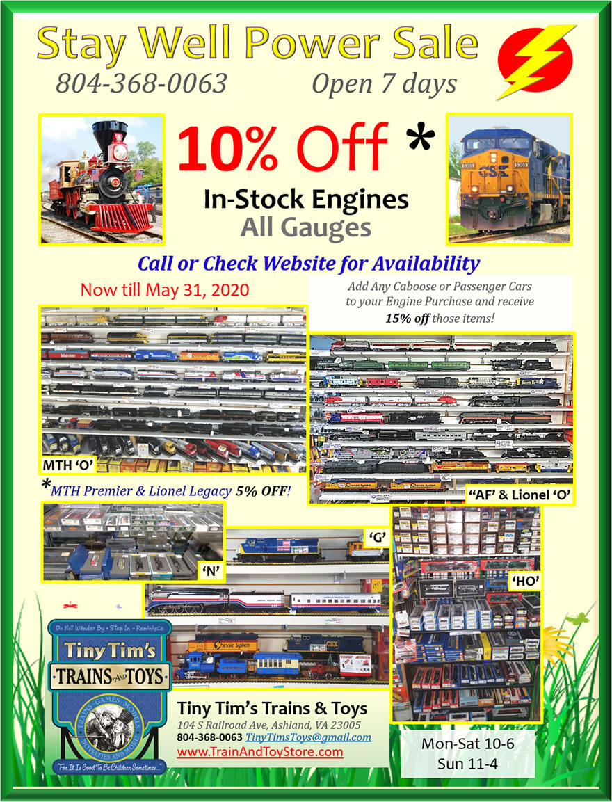 MTH,Lionel,Atlas,Athearn,Bachmann,Kato,Broadway Limited,Walthers,LGB,USA Trains