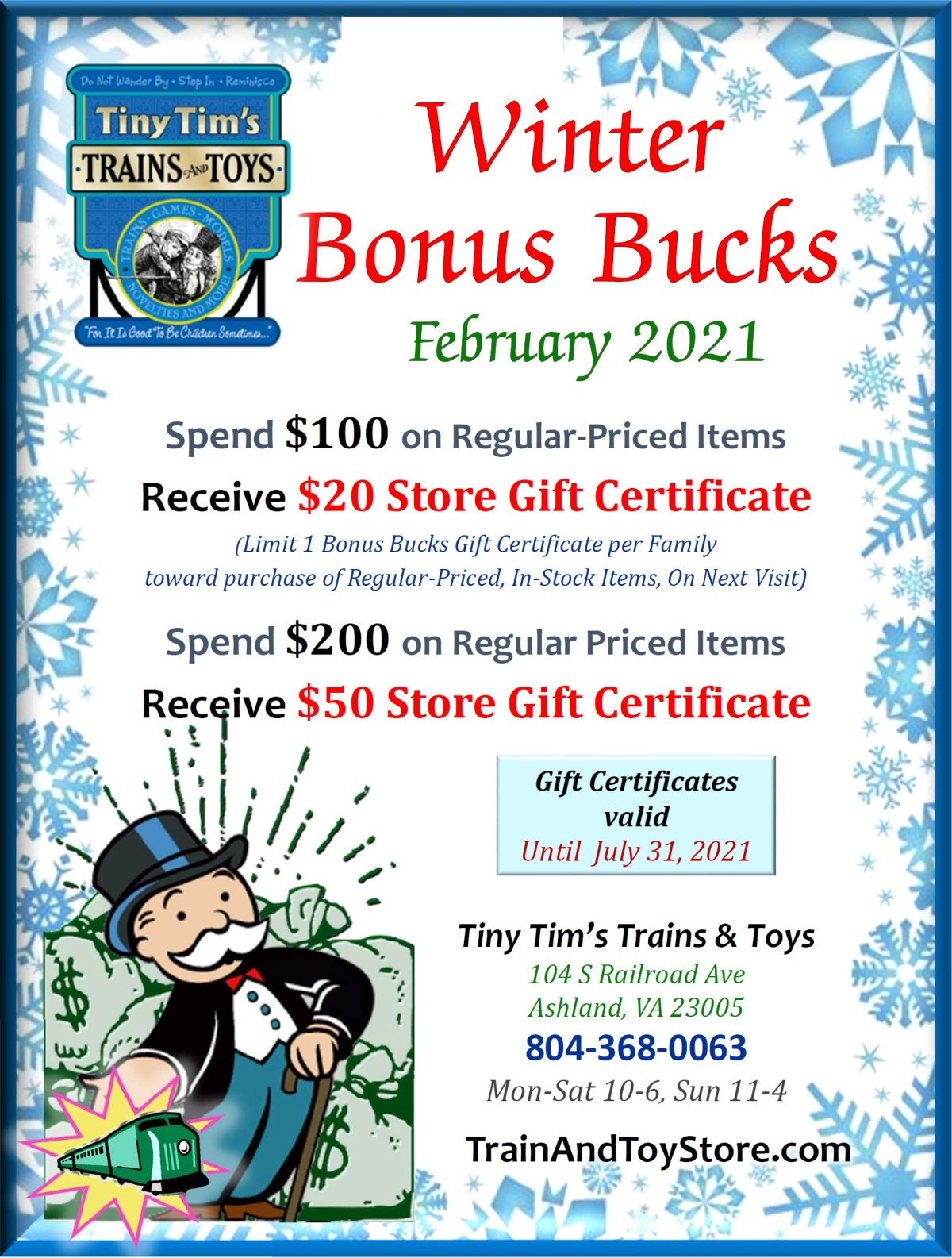 Winter Bonus Bucks