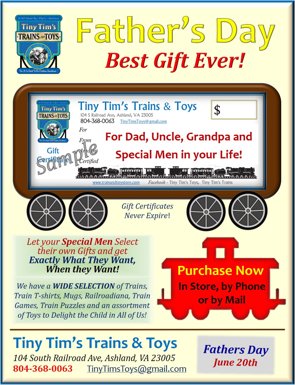 Fathers Day Gift Certificate Promotion