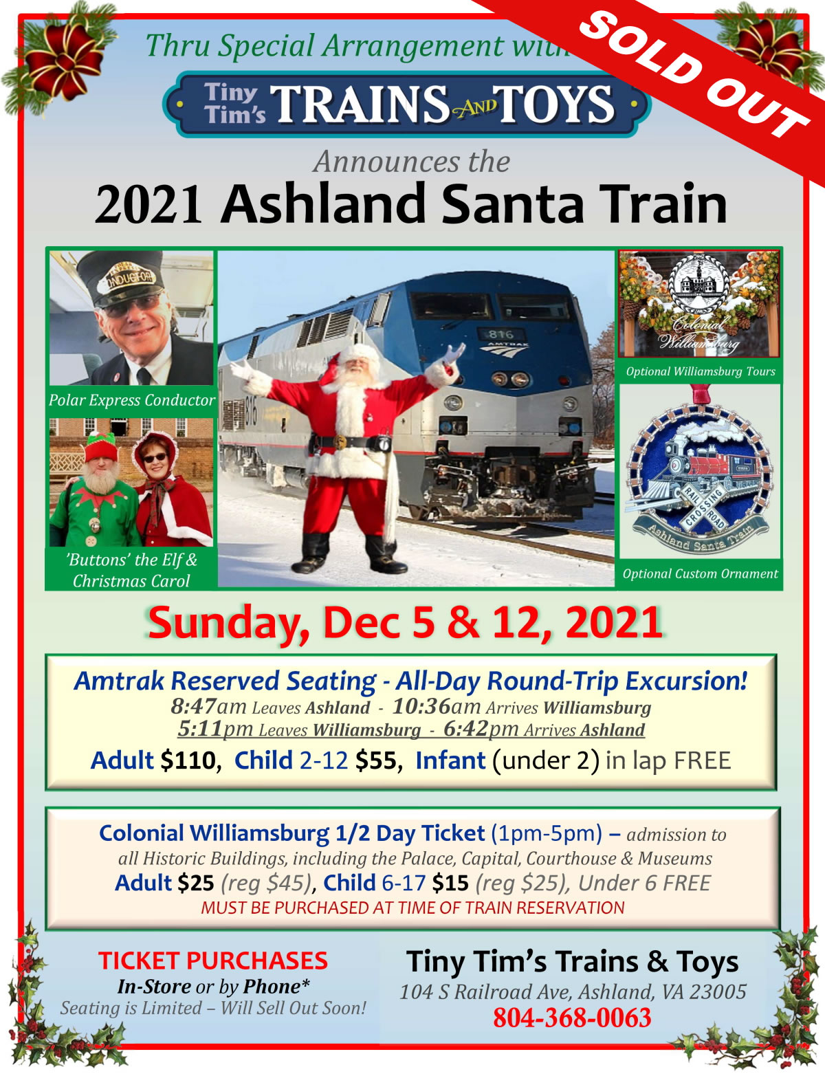 Tiny Tim 2021 Santa Train SOLD OUT